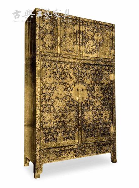 圖2 流落到法國的清作後加明款黑漆描金頂豎龍紋大櫃