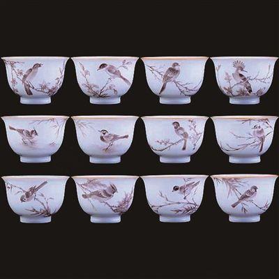 永樂甜白十二珍禽套杯