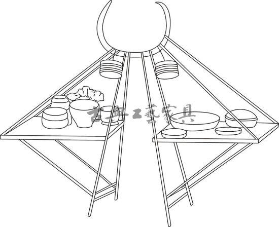 圖3 宋佚名《呂洞賓過岳陽樓圖》(美國大都會博物館藏)中的挑桌線描圖