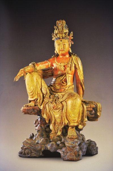 木雕水月觀音像金高114.2厘米喬治·尤莫霍浦路斯舊藏