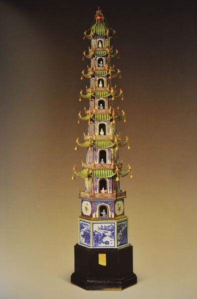 青花粉彩寶塔清嘉慶高276厘米購自私人藏家