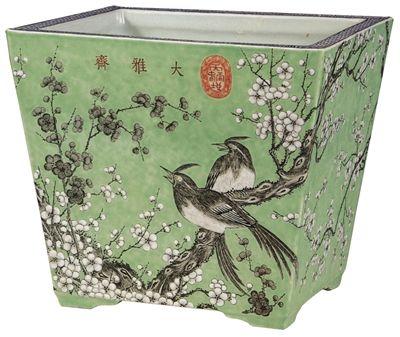 大雅齋湖綠地黑白彩梅花壽帶紋長方花盆