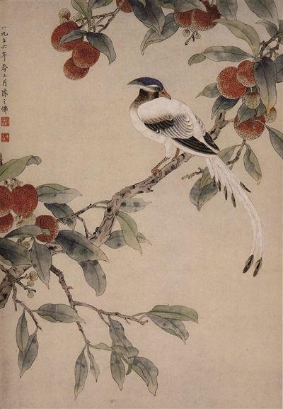 荔枝綬帶立軸,縱51厘米,陳之佛繪,南京博物院收藏