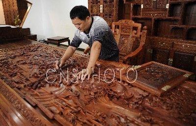 东阳木雕红木家具诗礼传家书房系列俏销