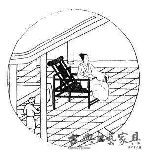 南宋画家刘松年《四季风景图》中的大椅,北京故宫博物院藏.