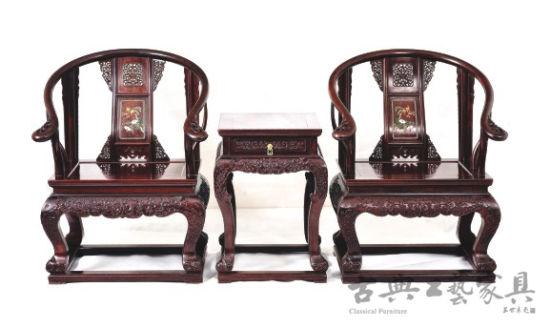 林福星设计作品:镶玉石皇宫椅三件套