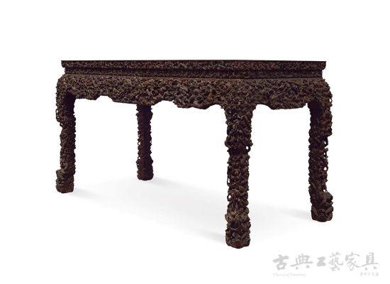 清乾隆紫檀西番莲纹有束腰带托泥扶手椅 清乾隆-清代家具的三大艺图片
