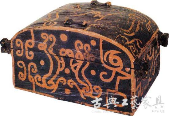 圖1戰國黑漆朱繪星宿紋衣箱