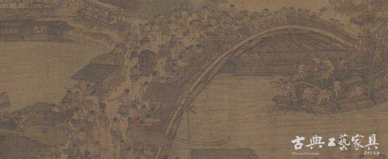 北宋 张择端《清明上河图》:临近拱桥最高处,出现一顶太师轿,熙熙攘攘人群中,太师椅前后人们还是尊避三尺。