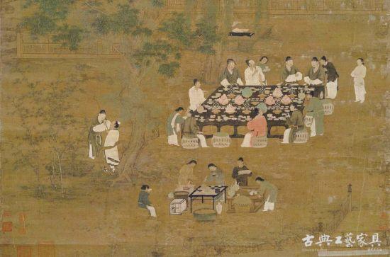 北宋 《文會圖》中眾人所坐多為藤墩