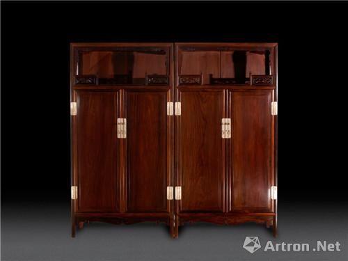 老紅木萬曆櫃一對尺寸:高202cm×寬93cm