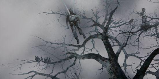 看郭晋(微博)的画,我总能想到《2012》这部电影:高大而健硕的老树,逃上树的动物、鸟类、各色的人群,无助、空洞、被动式的无奈,画面中的那种挣扎、孤独、寞、无法掩盖的惊慌,一切即将复归平静的真实或者非真实,梦幻或者非梦幻,无法确定的张望或者窥视。我不停地问他,为什么你的画里总有宿命的感觉呢?   当郭晋一脸无奈地望着我无法用最便捷的方式告诉我答案时,评论家佟玉洁很轻易地就回答了这个问题。她指着郭晋的画一针见血地说:这些作品有很深的宗教情结,大悲观的宗教宿命感。艺术在追寻人生的意义之时,对人类生存做深层