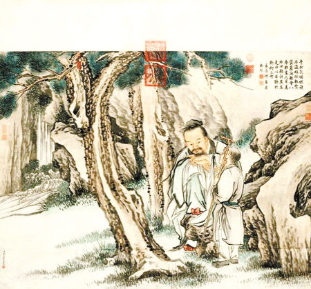 潘天寿《指画鹰石图》