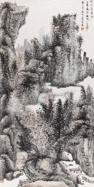 碧山寻旧图 2012年 138×36cm 纸本设色