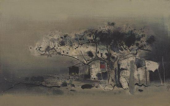 新加坡艺术家钟泗宾1963年创作的水墨作品《村庄》