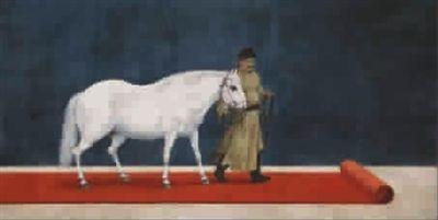 """李公麟筆下白描的馬,被""""牽""""到了紅地毯上。這是上海中國畫院畫師洪健的新畫作《甲午傳統研習系列》(見圖①)"""