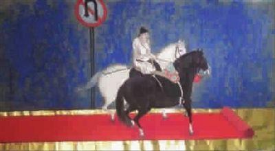 """在今年上海的藝博會上成為了明星展品之一。然而令洪健沒有想到的是,這兩天一位外地的朋友發給他看了一張西北畫家類似的""""走紅毯""""畫作,只不過李公麟的馬換成了韓幹的馬,再加上了一個交通標誌(見圖②)。"""