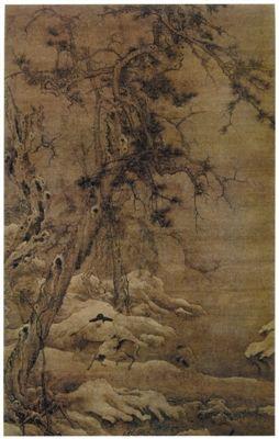 宋李成寒林騎驢圖軸大都會博物館藏