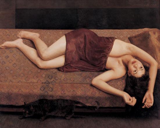 杨飞云 1989年 少女与猫 新浪收藏配图