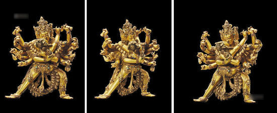 上乐金刚,典型的14世纪至15世纪西藏丹萨替寺风格造像