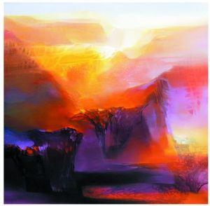 杨永智油画《千古秋莲》。