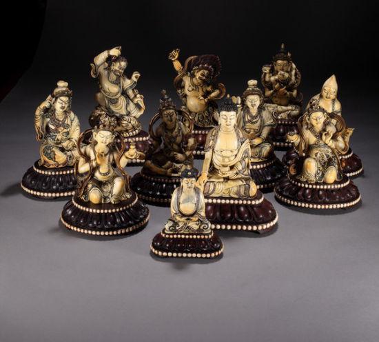民国 象牙雕加彩佛造像一组 11尊
