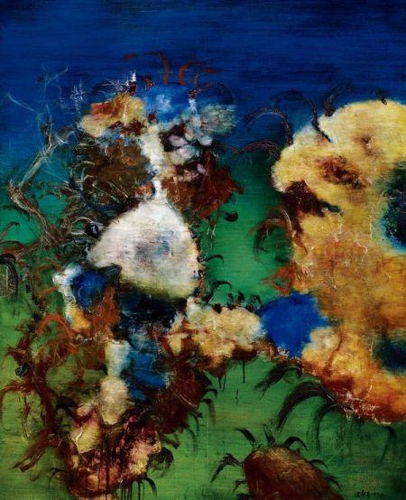 周春芽 1993 年作 《石头系列》油彩画布 162×130cm