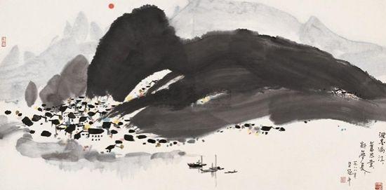 吴冠中 泼墨漓江 设色纸本1988年作