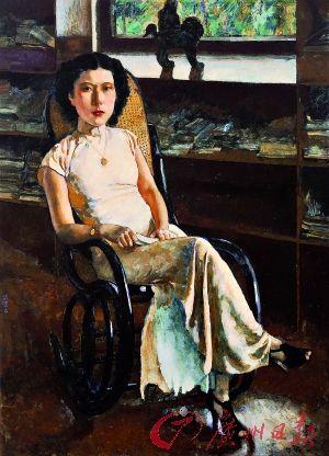 徐悲鸿作于1939年的著名油画人物肖像《珍妮小姐画像》。