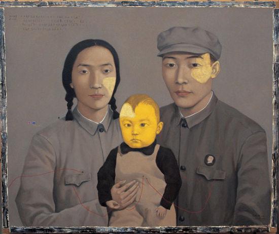 张晓刚 《血缘――大家庭:全家福2号》 图片来源于北京张晓刚艺术工作室网站 新浪收藏配图