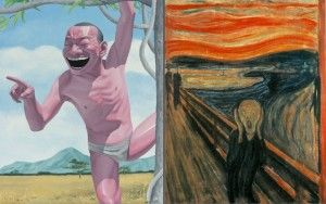 岳敏君的作品(左)和蒙克的《呐喊》(右)