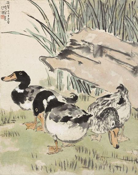 徐悲鸿  三鸭图  设色纸本 立轴 1938年作 69×54.5厘米 估价:300万-400万港币