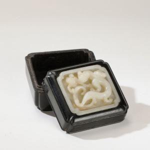 清早期 螭虎香盒 和田玉小叶紫檀木 4.7cm×6.5cm×6.5cm