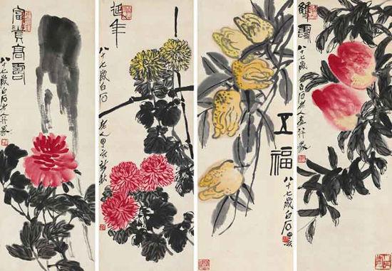 齐白石-花卉四屏