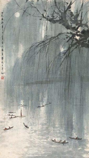傅抱石-春夜玄武湖