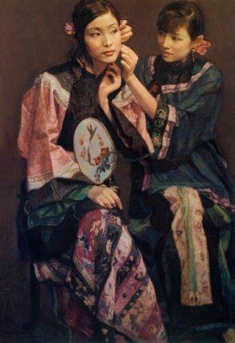 陈逸飞 助妆1992年油彩画布180×125cm