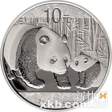 熊猫1盎司银币背面。