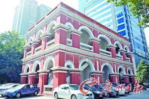 省港罢工委员会旧址重建的红楼。 周浩杰摄