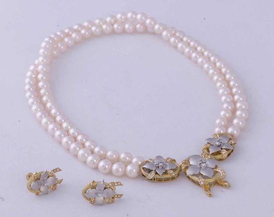 日本阿哥亚海珠钻石K18黄金.K14白金项链、耳环高级套装