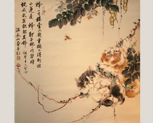 国画画家温长山:水墨丹青绘猫趣