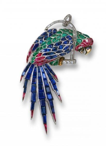 Cartier的鹦鹉胸针