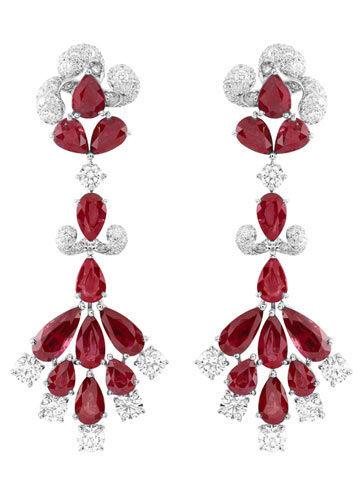 梵克雅宝Zip耳环,镶嵌红宝石和钻石