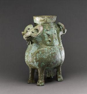 商饕餮紋雙羊尊高43.2厘米英國大英博物館