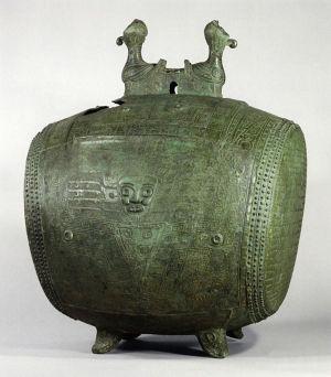 西周早期夔神雙雞鼓高82厘米日本京都泉屋博古館