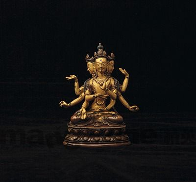 18世紀 銅鑄尊勝佛母坐像