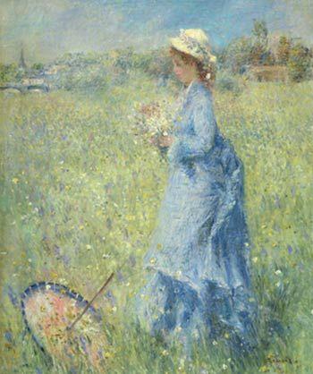 《采花的女郎》(Femme cueillant des Fleurs),皮埃尔-奥古斯特・雷诺阿,作于1874年左右