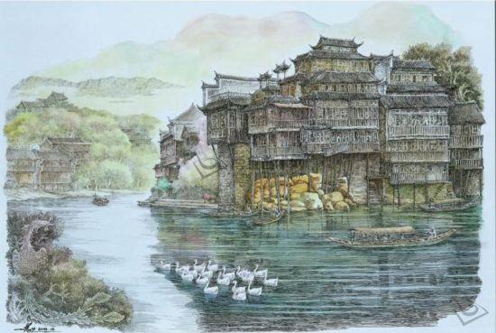 钢笔画《沱江之晨――凤凰古城》李蔷生画
