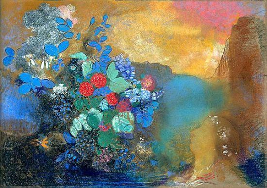 雷东的作品:花中的奥菲利亚
