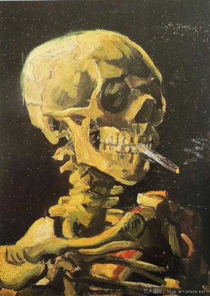《吸烟头骨》,梵高,1885年,荷兰阿姆斯特丹梵高美术馆藏