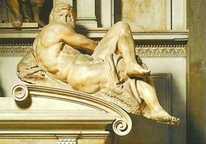 《昼》是一个似乎刚刚从睡梦中被惊醒的男子,左手在背后支撑着身体,眼睛圆睁着,向前方凝视